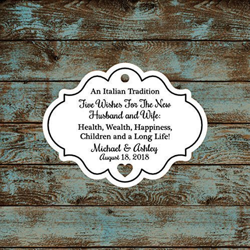 Personalized Jordan Almond Tags, Sugared Almond Tags, Italian or Greek Wedding Reception Favor Tags, Qty: 30 Tags #604 (Personalized Jordan Almonds)