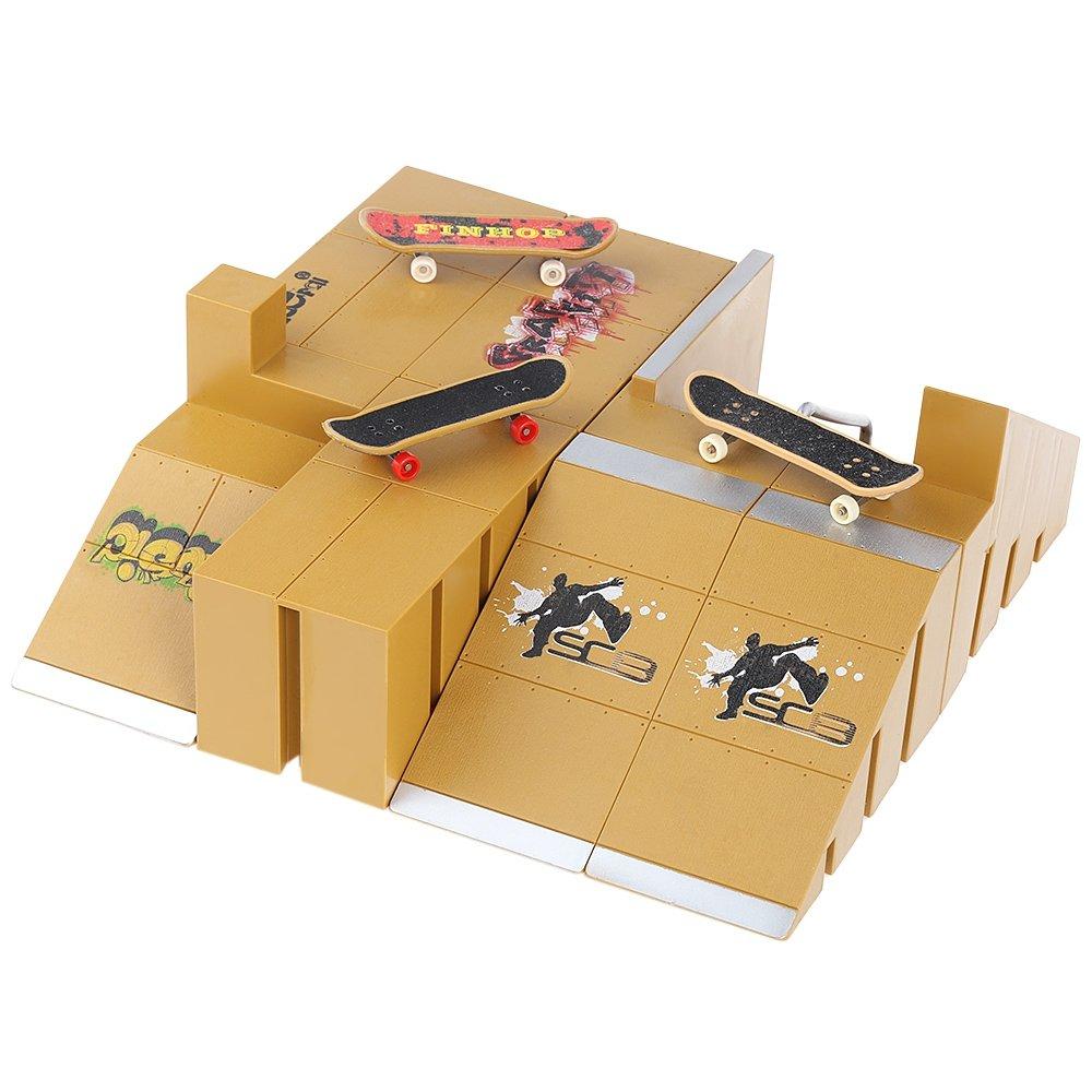 Robolife Professional Skate Park Kit Ramp Parts Fingerboard Skateboard Training Props-8pcs by Robolife (Image #3)