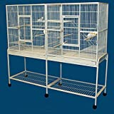 Large Double Wrought Iron Flight Canary Parakeet Cockatiel Lovebird Finch Sugar Glider Cage With Removable Rolling Stand on Wheels 63''Length x 19''Depth x 64''Height
