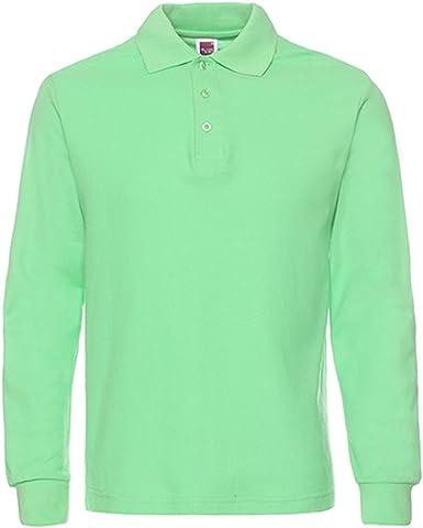 NeedBo Men's Long Sleeve Casual Solid Golf Polo Shirt (X-Large, Light Green)