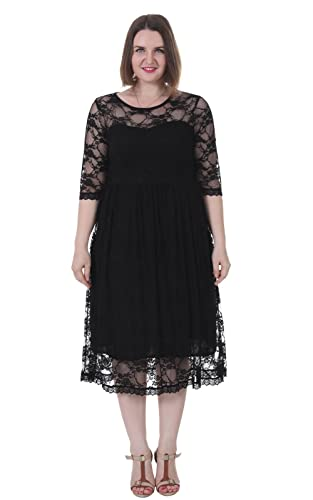 Sapphyra Women's Plus Size Dress Floral Lace Empire Waist Fit and Flare 1X-5X