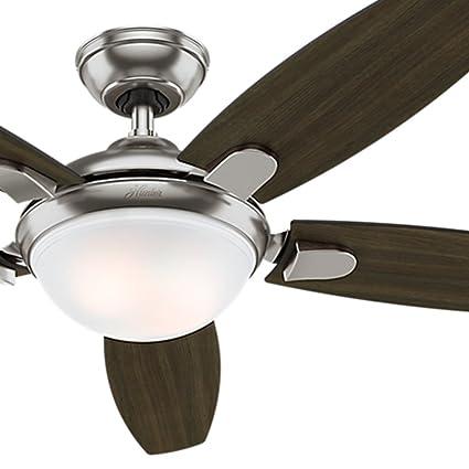 Hunter fan 54 brushed nickel ceiling fan w integrated led light hunter fan 54quot brushed nickel ceiling fan w integrated led light remote mozeypictures Image collections