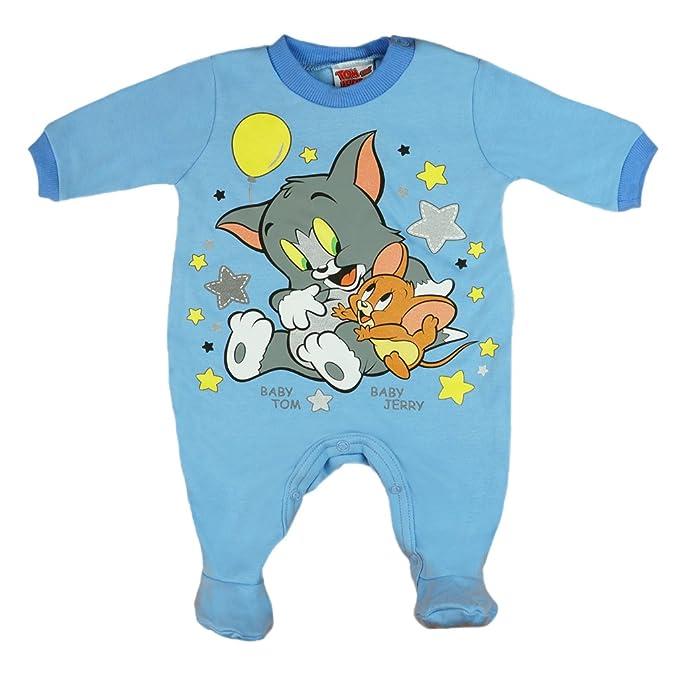 Tom und Jerry - Pelele - para bebé niño azul 62 cm: Amazon ...