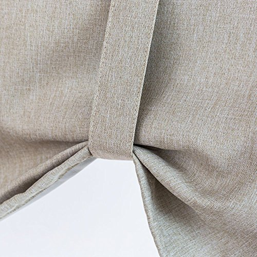 Tie-up Valances for Windows Linen Textured Room Darkening Adjustable Tie Up Shade Window Curtain Rod Pocket Tie-up Valance Curtains 18 Inches Long (1 Panel, Greyish Beige) by jinchan (Image #5)'