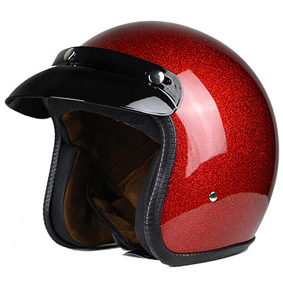 Mler&Protng Vintage Motorcycle Classic Retro Open Face Design Lightweight DOT Certified for Motorbike Cruiser leather1 L by Mler&Protng (Image #2)