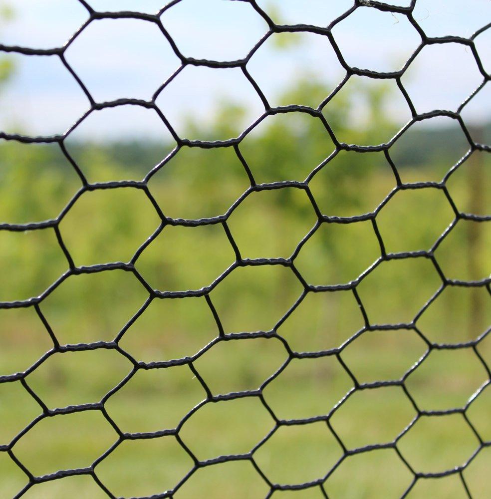 MTB Black PVC Hexagonal Poultry Netting, Chicken Wire 18'' x150'-1'' 20GA 12''/18''/24''/36''/48'' Width by 25'/50'/150'Length