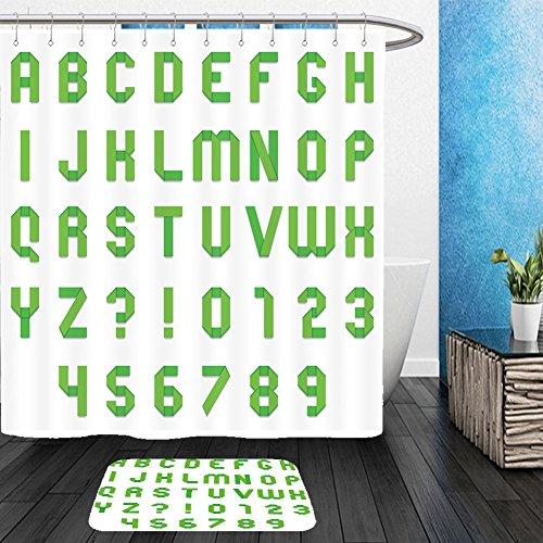 Vanfan Bathroom 2Suits 1 Shower Curtains & 1 Floor Mats full alphabet of green folded paper font 305189243 From Bath (Happy Halloween Disney Font)