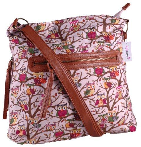 EyeCatch - Womens Cross Body Ladies Owl Design Shoulder Bag Pink
