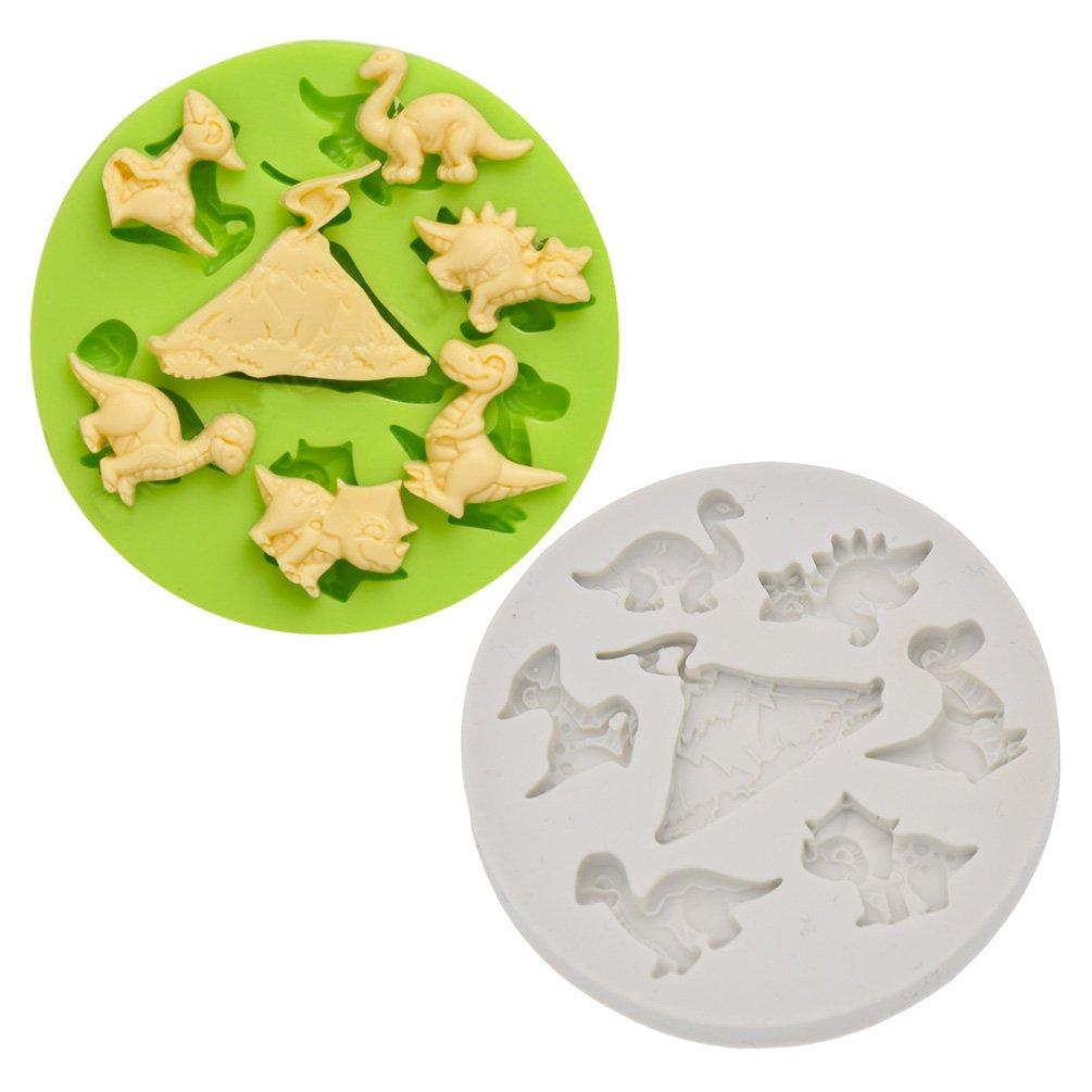 YNuth Molde de Silicona del Diseño de Dinosarios y Volcán para Tarta Pastel de Azúcar y Chocolate Color Aleatorio: Amazon.es: Hogar
