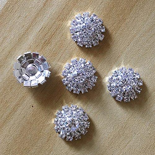 Silver Tone Clear Crystal Rhinestone DIY Embellishments Flatback Buttons Hair Accessories Decors