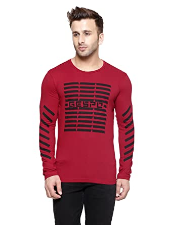 08e559897 GESPO Red Printed Round Neck Full Sleeves T Shirt: Amazon.in: Clothing &  Accessories