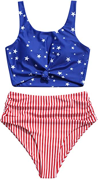 ZAFUL American Flag Tankini Swimsuit Knot Ruched High Waisted Bikini Set Star Stripes Bathing Suit