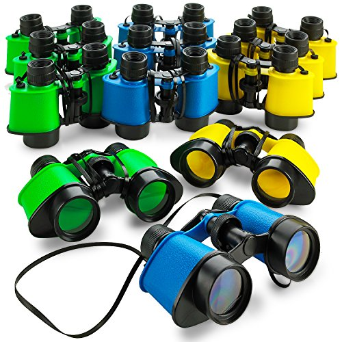 - Kicko 12 Toy Binoculars with Neck String 3.5 x 5 Inches - Novelty Binoculars for Children, Sightseeing, Birdwatching, Wildlife, Outdoors, Scenery, Indoors, Pretend, Play, Props, and Gifts