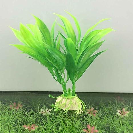 fgyhtyjuu Ornamento Planta Agua de la Hierba Verde para Las Plantas del Acuario Artificial del Acuario