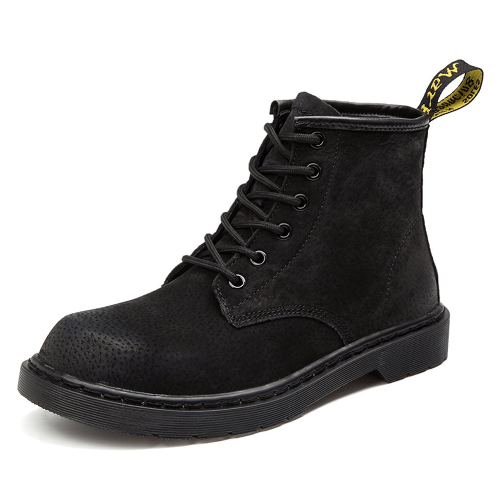 Sherry Love Men Women Suede Leather Classic Oxfords Dress Ankle Boots-Black-43EUR