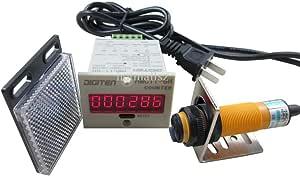 DIGITEN 0-999999 12-24VDC Digital LED Counter +PhotoElectric Switch Sensor +Reflector Automatic Conveyor Belting