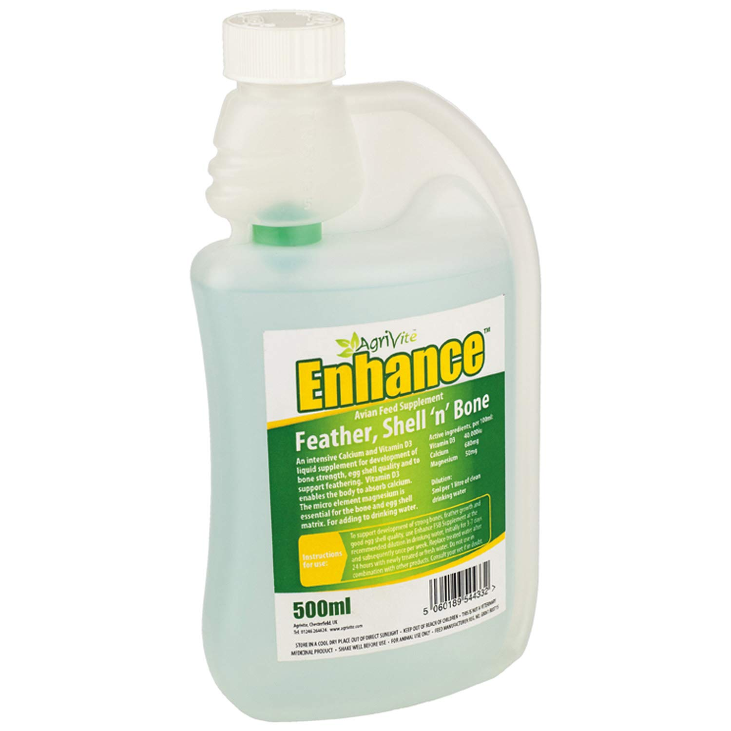 AGRIVITE ENHANCE 500ml POULTRY CALCIUM LIQUID SUPPLEMENT AVIARY BIRDS PIGEON