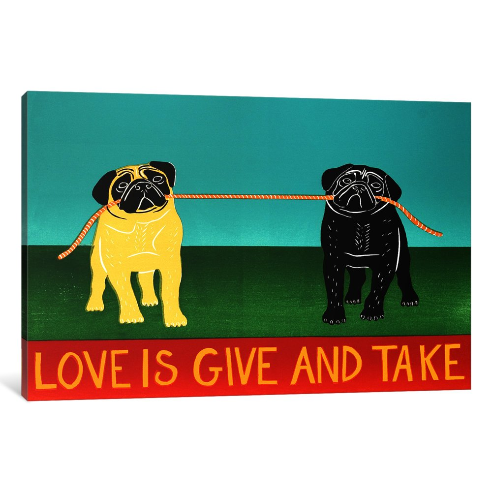 iCanvasART 1 Piece Love Is Give And Take Black Canvas Print by Stephen Huneck, 40 by 26''/1.5'' Deep by iCanvasART (Image #1)
