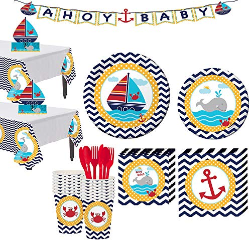 Party City Ahoy Nautical Baby Shower Tableware Kit for 32 Guests, Includes 2 Tables Covers, Centerpiece, Letter Banner ()