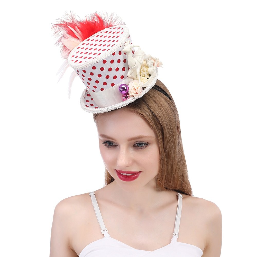 LL Women's Mini Top Hat Snowflake Christmas Hat, Holiday Hat, Red and White Hat Micro Hat (Color : White, Size : 25-30CM)