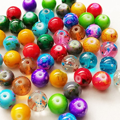Beading Station 50-Piece Mix Artistic Marble Design Glass Round Beads, 8mm