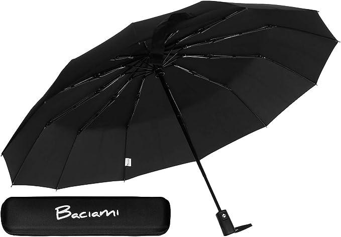 Ombrello pieghevole automatico - 12 stecche - antivento - compatto e leggero - ombrello tascabile - nero B085YD5WMW