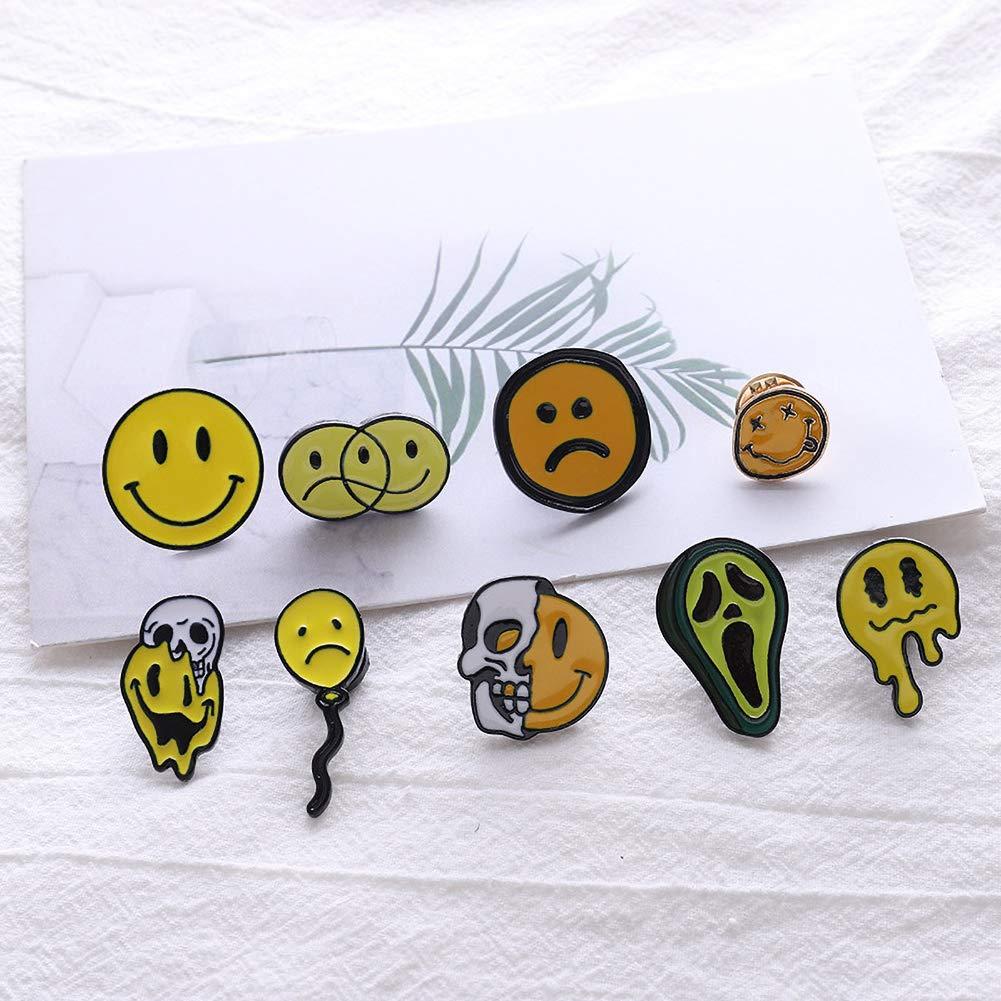 Stili Casuali Aisoway 4pcs Emoticons Spille Spille Felice Triste Fear Smalto Zaino Spilli per Divertimento degli Amici Regali Gioielli