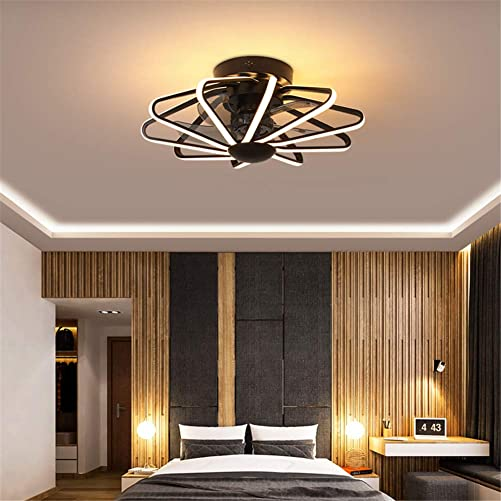 Ceiling Fan with Light and Remote Control Modern LED Adjustable Light Color Fan Speed, Time Setting, Low Profile Flush Mount Cage Shape Fandelier, 58cm 23Inch,Black