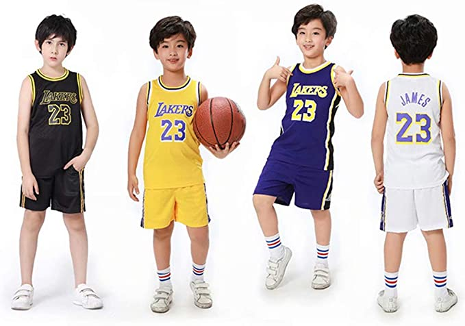 REDLIFE Camiseta de Baloncesto para niños, James Lebron # 23 La Lakers, Top y Pantalones Cortos, Blanco, M: Amazon.es: Deportes y aire libre