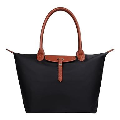 ZTOZ Women s Stylish Waterproof Tote Bag Nylon Travel Shoulder Handbag Beach  Bags (BLACK 95f2f77a97