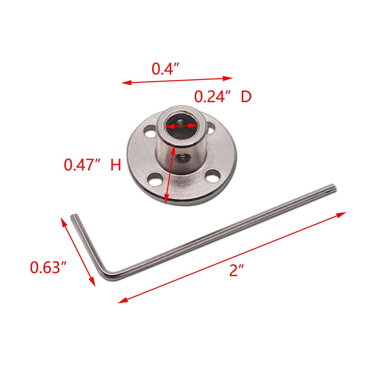 Tulead 8mm//0.3 Diameter Shaft Coupler Motor Connector Rigid Flange Coupling Pack of 2 with Spanner,M3 Screws