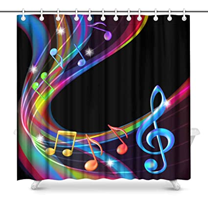 Image Unavailable Not Available For Color INTERESTPRINT Colorful Music Note Bathroom Decor Shower Curtain