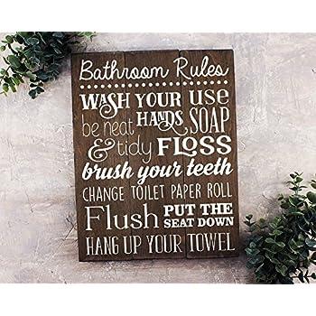 Bathroom Rules Sign Bathroom Rules Sign Rustic Kids Bathroom Art Kids  Bathroom Wall Decor Rustic Bathroom