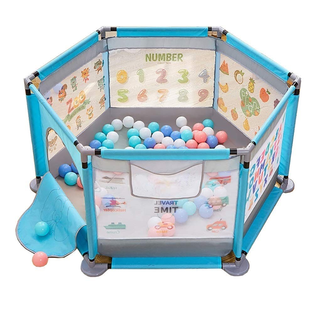 PNFP 赤ちゃんの遊戯場の安全遊戯場、屋内子供の遊び場、キッズアクティビティセンターゲームフェンス (Color : Blue)  Blue B07V9S1NCR
