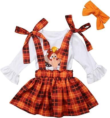 3PCS Toddler Girls Thanksgiving Pumpkin Tops+Overalls Skirt+Headband Outfits Set