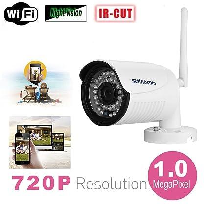 Sinocam - 720P H.264 Impermeable WIFI P2P Cámara IP de Vigilancia Seguridad (1.0