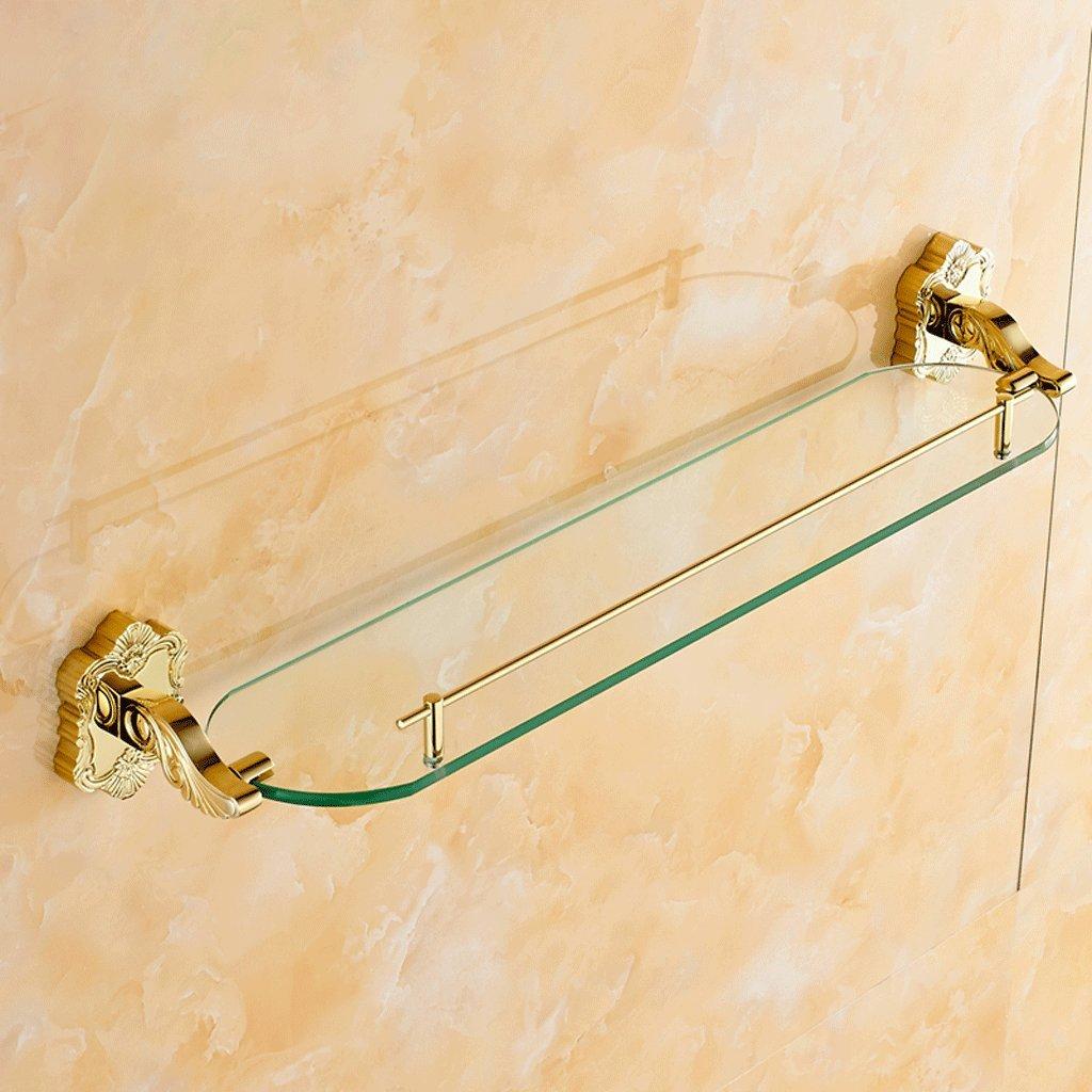 ヨーロッパの金彫刻シングルガラスドレッシングテーブルラックのバスルーム B07D1QW1HZ
