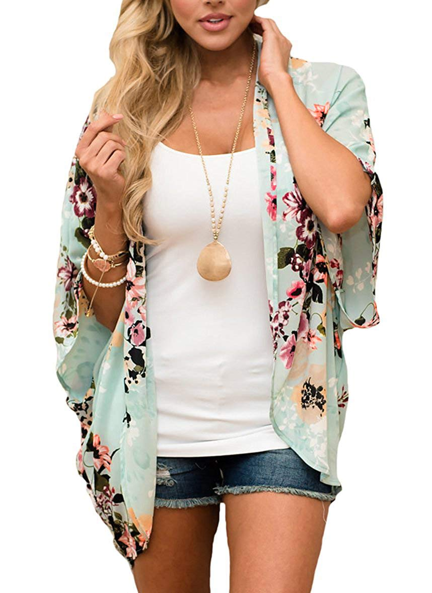 Women's Floral Print Puff Sleeve Kimono Cardigan Loose Cover Up Casual Blouse Tops (X-Large, Mint0) by Chicgal