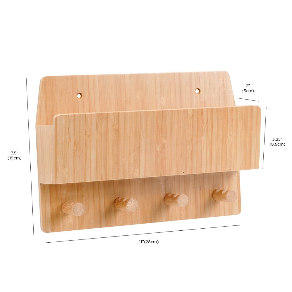 Amazon.com: MobileVision Bamboo Mail & Letter Wall Mount Organizer ...