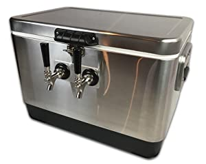 Coldbreak Jockey Box, 2 Taps, Stainless Pass Through, 54 Quart Cooler, 50' Coils, Stainless Steel Shanks, Includes Stainless Faucets