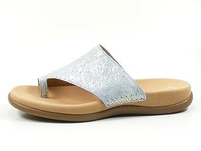 Gabor 83-700 Schuhe Damen Metallic Pantoletten Dianetten Zehentrenner, Schuhgröße:36, Farbe:Blau