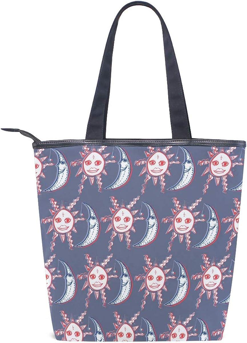 DEZIRO Cute Sun And Moon Pattern Handbag woman Tote Bag