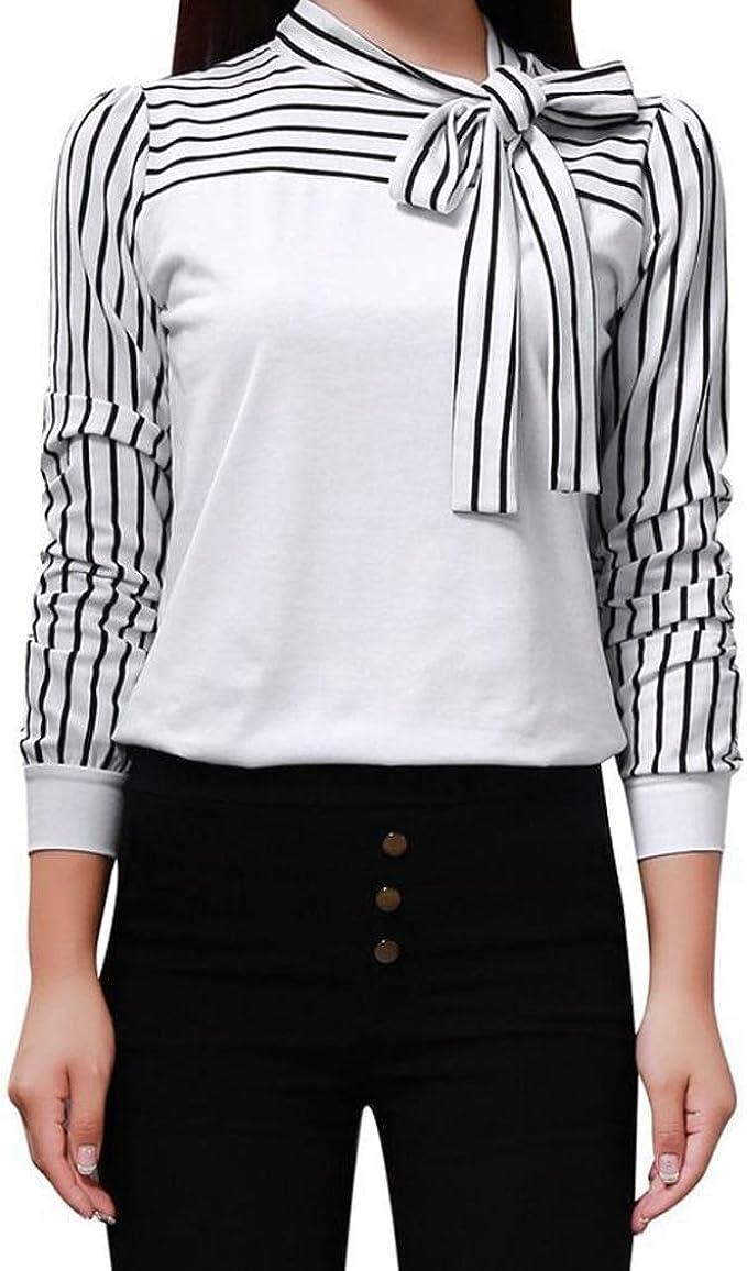 Primavera Camiseta para Mujer, Moda Cuello Redondo Blusa a ...