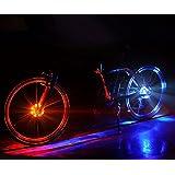 自転車 ホイールライト LEDライト 自転車タイヤ用ライト デコレーションランプ おしゃれ 防水 事故防止 学生 通勤 通学 簡単取り付け 防水 LR44電池内蔵 青/赤/多色