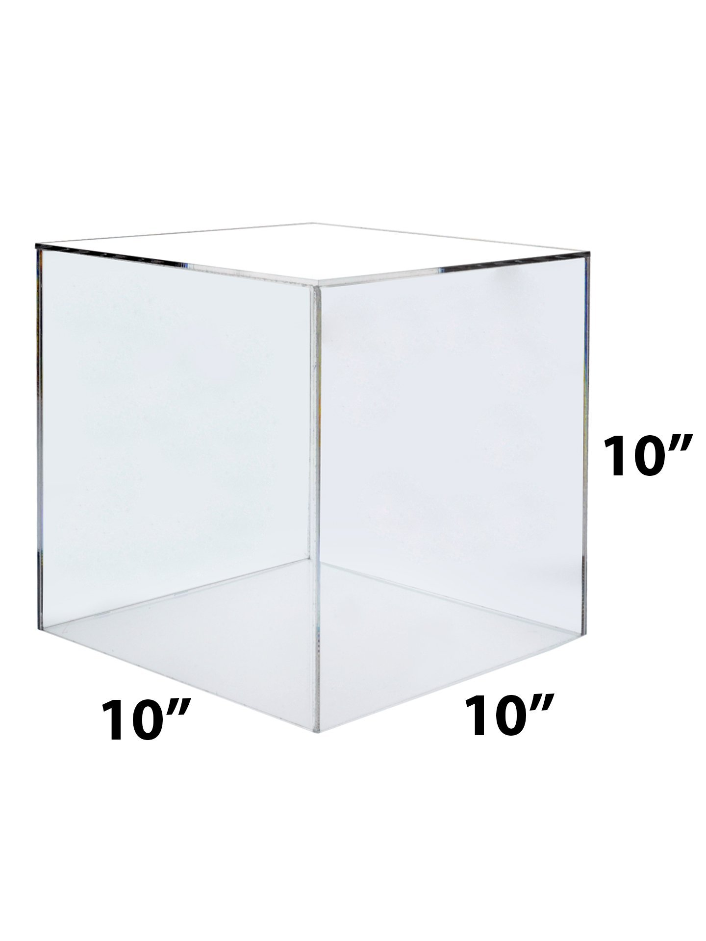 Marketing Holders Large Acrylic Display Box Cube Toys Trinkets Collectible Items Safety Dust Cover Acrylic 5 Sided Show Case Art Easel Pedestal Display (5, 10''w x 10''h) by Marketing Holders (Image #2)
