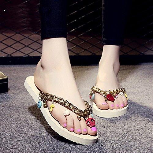 MEIDUO sandalias Verano femenino antideslizante de fondo plano de la moda/sandalias (blanco, beige, negro, azul) cómodo Beige