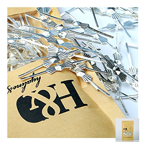 H&D 300pcs Chrome Bow Tie Clips Metal Butterfly Clips for Fastening Crystals, Chandelier Crystals, Lamp,Ceiling Light Crystals (45mm, Silver)