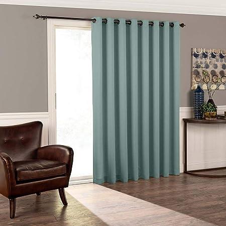 1 pieza 84 (Río azul color sólido cortina de puerta corredera, luz ...