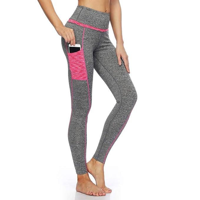 8256823e72e9 DNggAND Women s Yoga Capris Power Flex Running Pants Workout Leggings(Pink  Grey