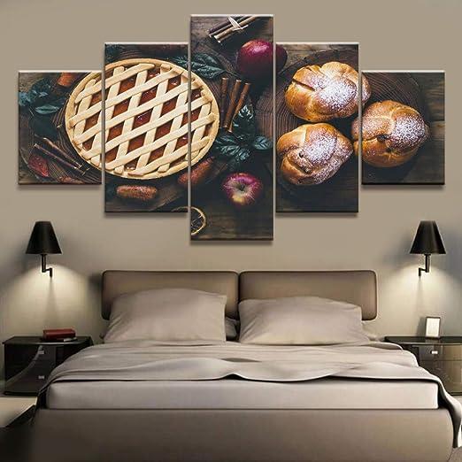 adgkitb canvas 5 Paneles de Pastel de Comida y Pan de Lona Impresa ...